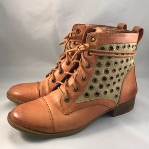 Gianni Bini Leather & Canvas Grommet Boots
